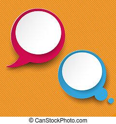 etichette, zebrato, pensiero, discorso, arancia, bolla