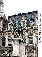 A statue of Etienne Marcel, situated outside the Hotel de Ville, Paris, France