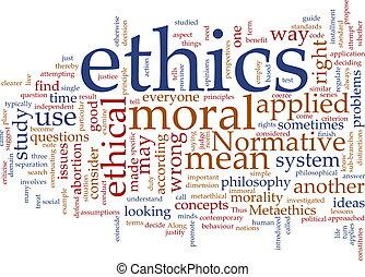etika, szó, felhő