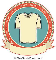 etiket, achtergrond, t-shirt, set, white., vector, kleren