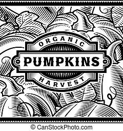 etiket, black , retro, witte , oogsten, pompoen