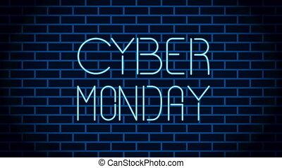 etiket, cyber, maandag, neon ontsteken
