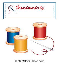 etiket, draden, naaiende naald