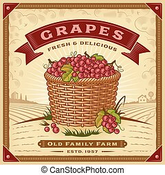 etiket, druiven, oogsten, landscape, retro