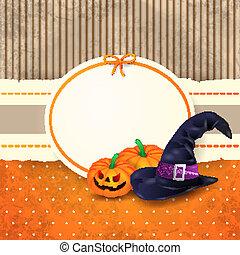 etiket, halloween, pompoennen, hoedje, achtergrond