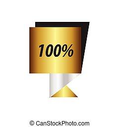 etiket, honderd, procent, zilver, goud