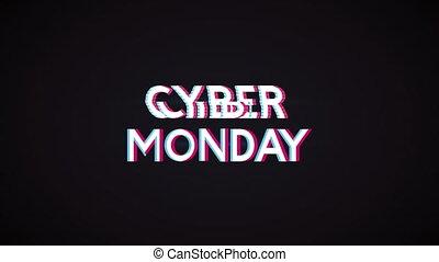 etiket, maandag, cyber, animatie