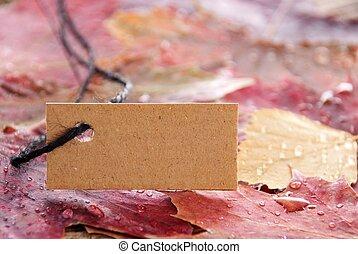 etiket, met, de ruimte van het exemplaar, en, herfst, achtergrond