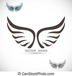 etiket, met, vleugels