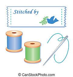 etiket, naald, draden, naaiwerk