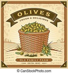 etiket, olive, oogsten, landscape, retro