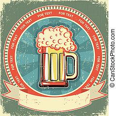 etiket, papier, oud, achtergrond, set, texture., bier, ouderwetse