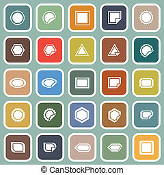 etiket, plat, iconen, op, blauwe achtergrond