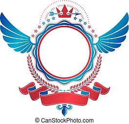 etiket, spear., stijl, grafisch, embleem, gecreëerde, gevleugeld, heraldisch, kroon, ribbon., wapenkunde, vector, ontwerp, retro, scherp, oud, verfraaide, element, logo.
