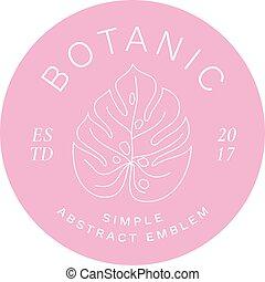 etiket, stijl, of, silhouette, eenvoudig, abstract, moderne, monstera, typography., blad, palm, logo, embleem, lijn, flora, template.
