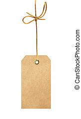 etiket, (tag), vrijstaand, op wit, achtergrond