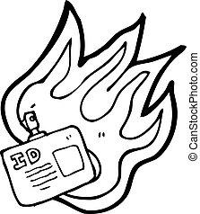 etikett, ausweis, brennender, karikatur