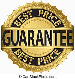 etikett, bäst, garanti, gyllene, pris