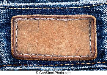 etikett, blå, läder, tom, sewed, jeans