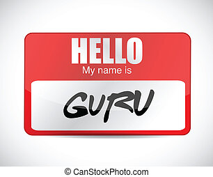 etikett, design, name, abbildung, guru