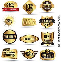 etikett, etikett, gold, set., abzeichen, aufkleber