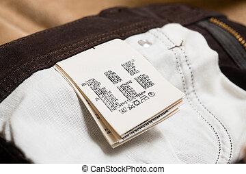 etikett, etikett, närbild, beklädnad, eller, bomull