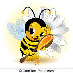 etikett, för, honung