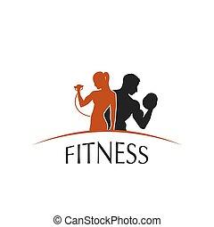 etikett, fitneßklub, mit, der, bild, von, frauen männer