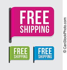 etikett, gratis, nymodig, skeppning, %u2013