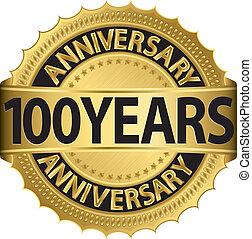 etikett, guldgul år, årsdag, 100