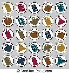 etikett, ikonen, sätta, berätta, tema, simplistic, symboler, vektor, kollektion
