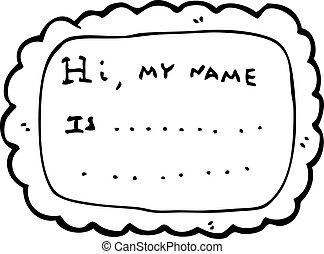 etikett, karikatur, name