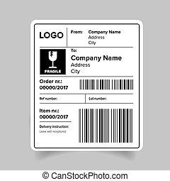 etikett, mall, skeppning