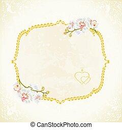 etikett, mit, weißes, orchideen, weinlese, vector.eps