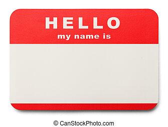etikett, name