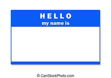 etikett, name, leer