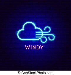 etikett, neon, windig