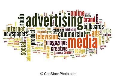 etikett, ord, annonsering, moln