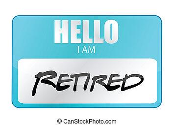 etikett, pensioniert, hallo