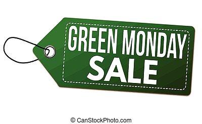 etikett, pris, grön, eller, försäljning, måndag, etikett