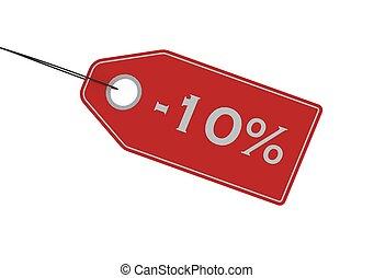 etikett, procent, försäljning, av, 10