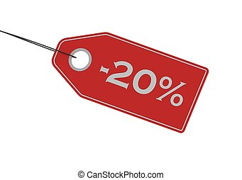 etikett, procent, försäljning, av, 20