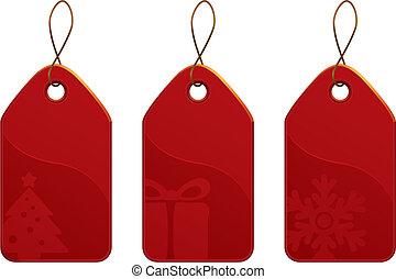 etikett, sätta, jul