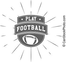 etikett, stil, emblem, rugby, usa, gezeichnet, weinlese, fußball, symbol., sport, amerikanische , vektor, design, identität, sunburst, monochrom, logo, hand, lettering., template., element.