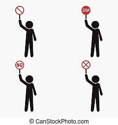 etikett, symbol, man, sätta, stopp