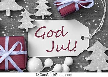 etikette, gave, træ, sneflager, gud, jul, betyder, glædelig...