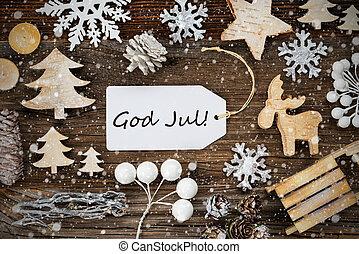 etikette, glædelig jul, ramme, betyder, jul, sneflager, gud