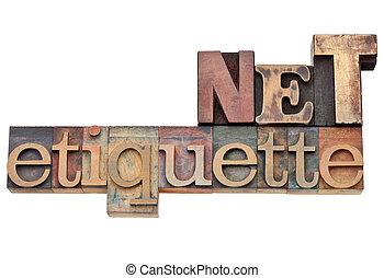 etikette, netz, begriff, -, internet