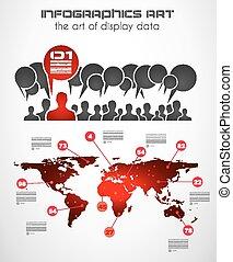 etikette, satz, -, papier, infographic, elemente