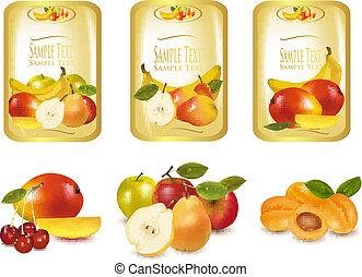 etiketten, anders, fruit, goud
